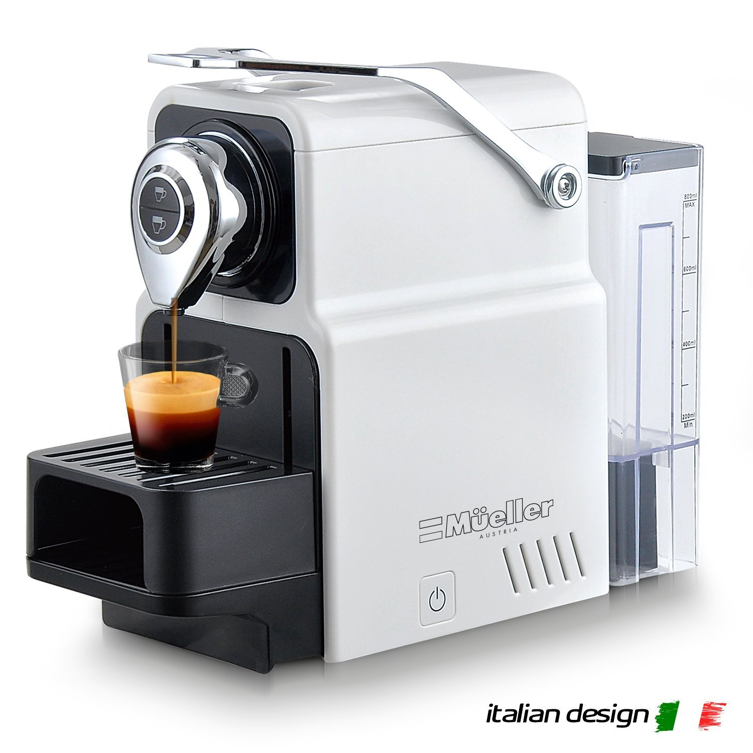 Mueller Espresso Machine for Nespresso Compatible Capsule, Premium Italian 20 Bar High Pressure Pump, 25s Fast Heating with Energy Saving System, Programmable Buttons for Espresso and Lungo, 1400W Mueller Austria
