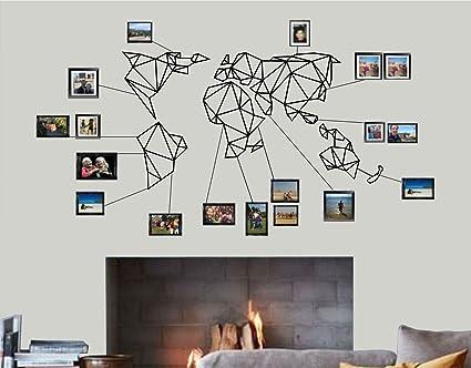 DEKADRON World Map Wall Art - Geometric World Map - 3D Wall Silhouette  Metal Wall Decor Home Office Decoration Bedroom Living Room Decor Sculpture  ...
