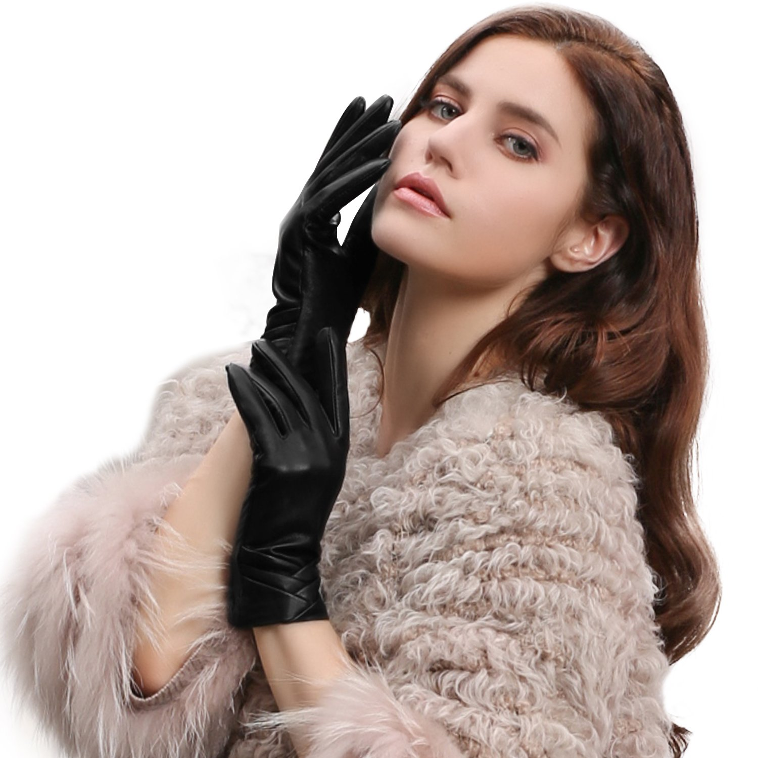 GSG Original Design Womens Full Palm Touchscreen Gloves Spain Genuine Nappa Leather Winter Driving Texting Trendy Ruched Warm Faux Fur 7.5