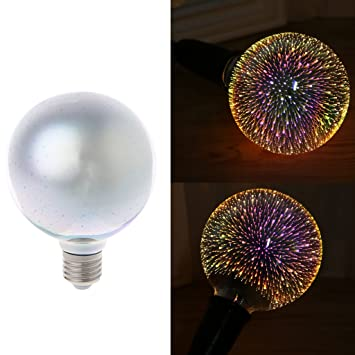 Amazon.com : YDZN E27 G95 Colourful 3D Fireworks Star Shine Bulb Multiple Reflection Alluminum Plated Glass Light Lamp Night Light Home Party Decoration : ...