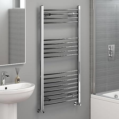 iBathUK 1200 x 600 mm Electric Curved Towel Rail Radiator Chrome Heated Ladder