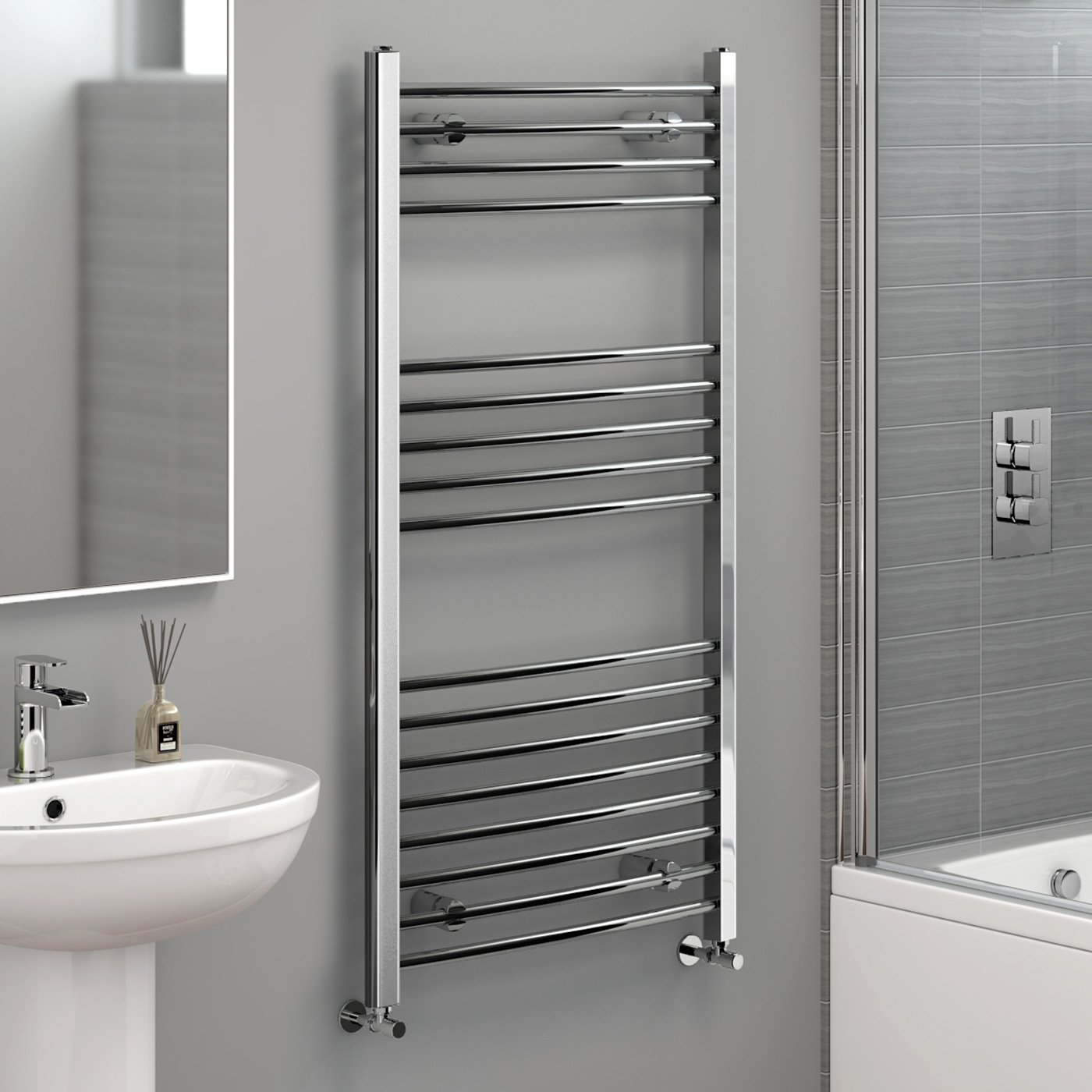 Designer heated towel rails for bathrooms - 1200 X 600mm Straight Heated Towel Rail Chrome Bathroom Radiator Ibathuk Amazon Co Uk Kitchen Home