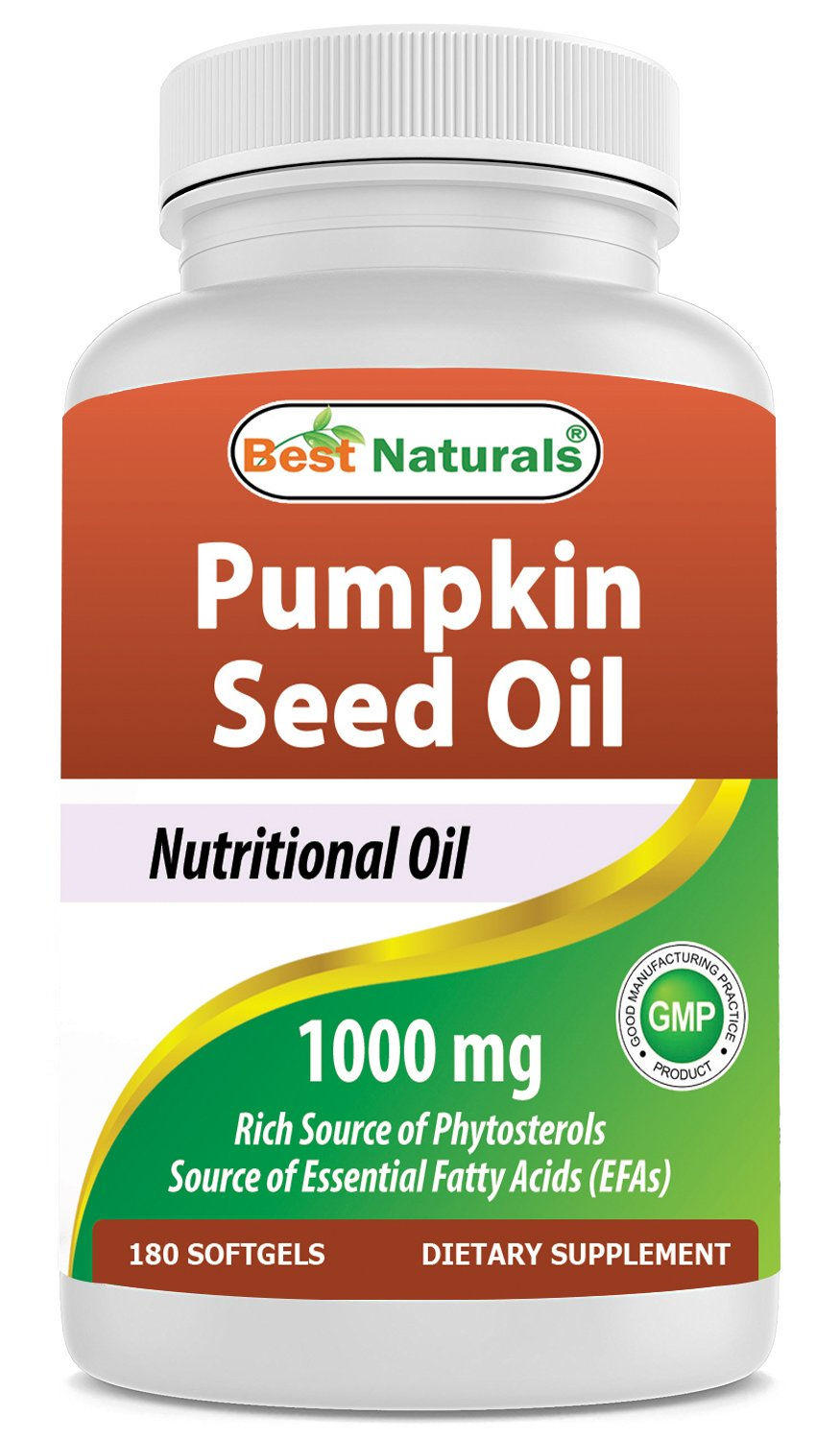 Best Naturals Pumpkin Seed Oil Capsules, 1000 mg, 180 Count