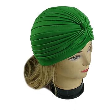 f35ff3dd272 Amazon.com   Lady Stretchy Turban Head Wrap Band Chemo Bandana Hijab  Pleated Indian Cap Hat (Green)   Beauty