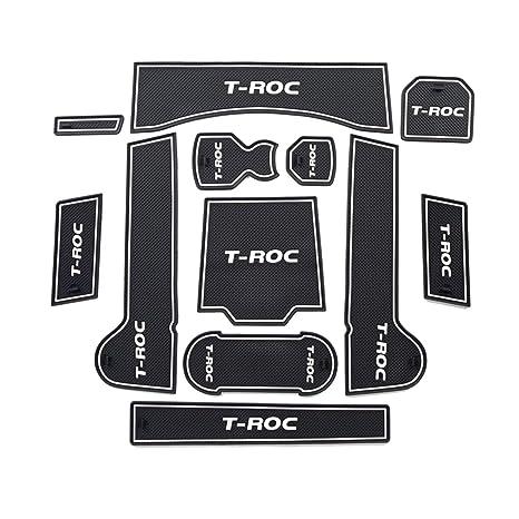 LFOTPP T-Roc Slot Pad Alfombra de Goma Car Styling Interior Alfombrillas Antideslizantes Estera del
