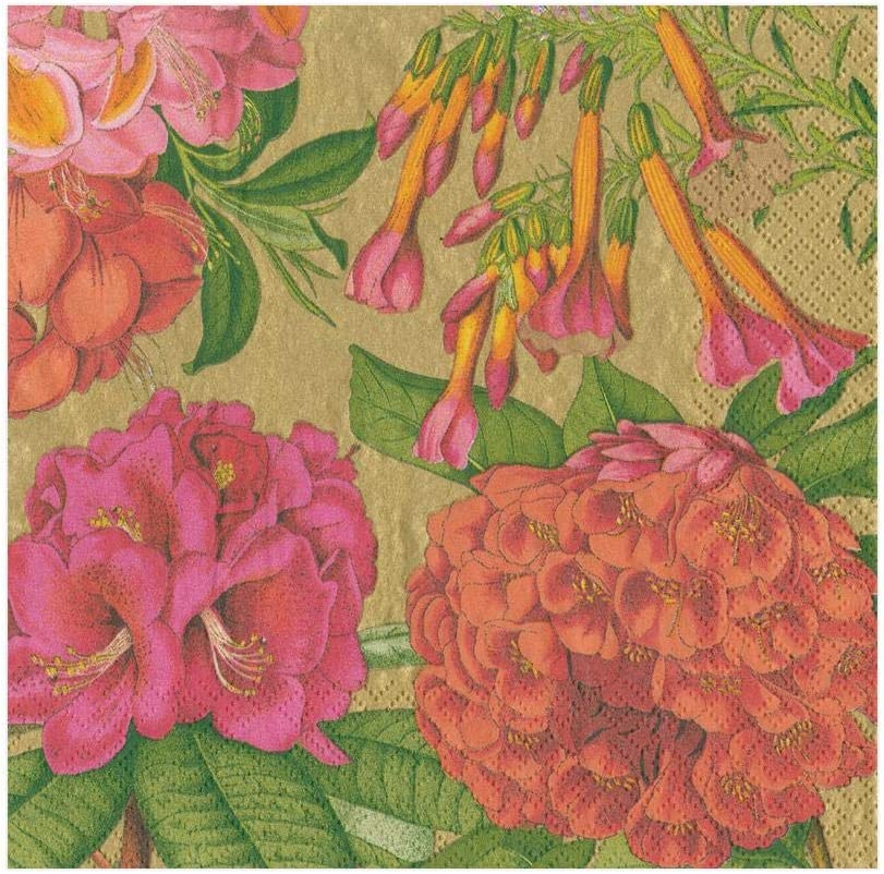 Caspari Jeffersons Garden Study Paper Cocktail Napkins in Gold 20 Per Package