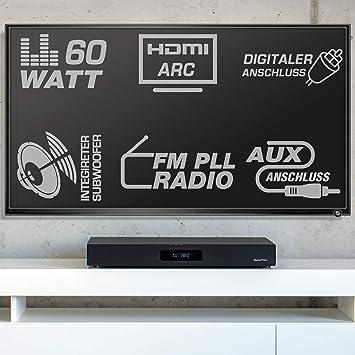 AudioAffairs Sistema de Altavoces | Cine en Casa HDMI ARC | Barra de sonido con Radio FM PLL FM, Subwoofer Integrado, Bluetooth 3.0 y Mando a Distancia: Amazon.es: Electrónica
