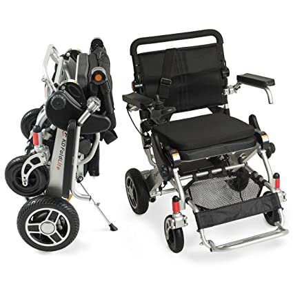 Amazon.com: F KD FoldLite Safe Lithium Battery Lightweight Portable Folding Electric Power Wheelchair Heavy Duty, with 360 Degrees Joystick, Supports up to ...