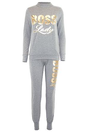3d12befa4807 Womens Ladies Boss Lady Fleece Bottom Sweatshirt Loungwear Jogsuit Tracksuit  Set Grey  Amazon.co.uk  Clothing