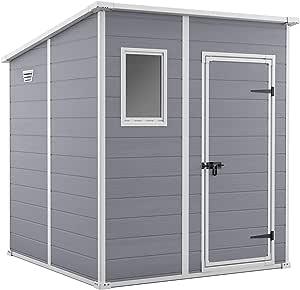 Keter 242787 - Caseta de jardín exterior Manor 6x6, Color gris ...