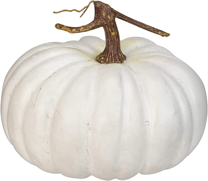 """Northlight 10"""" White Flat Round Pumpkin Fall Harvest Table Top Decoration"""
