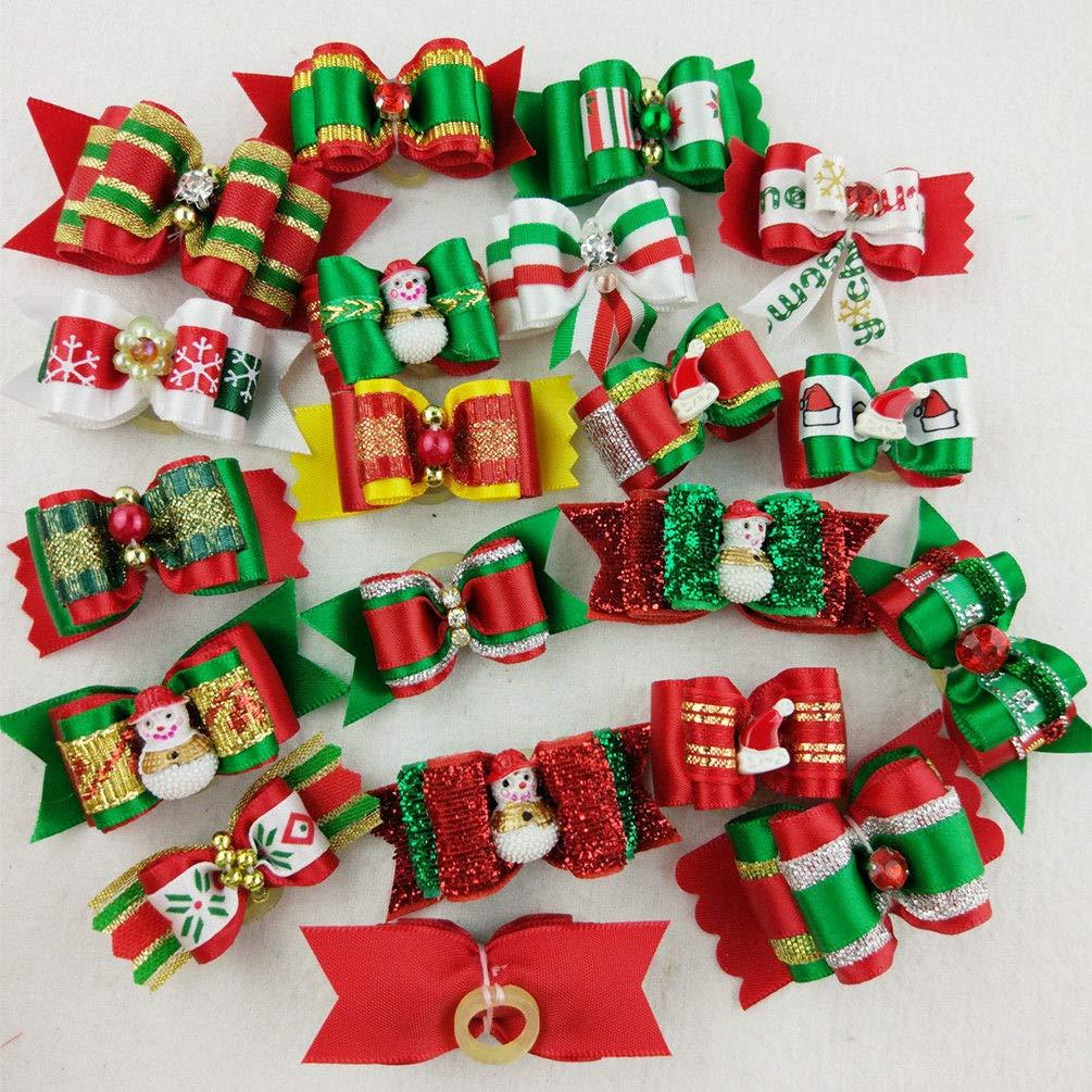 100pcs FidgetGear 10-100X Dog Handmade Multicolor Christmas Pet Festival Xmas Santa 3D Hair Bows 100pcs