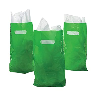 Fun Express - Green Plastic Bags (50pc) - Party Supplies - Bags - Plastic Bags - 50 Pieces: Grocery & Gourmet Food