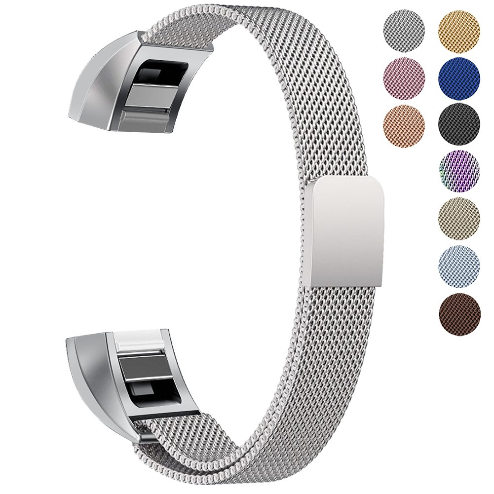 "Oitom for Fitbit Alta HR Accessory Bands and Fitbit Alta Band, (2 Size) Large 6.7""-9.3"" Small 5.1""-6.7"" (8 Color) Silver Black Rose Gold Pink Blue Brown Rainbow"