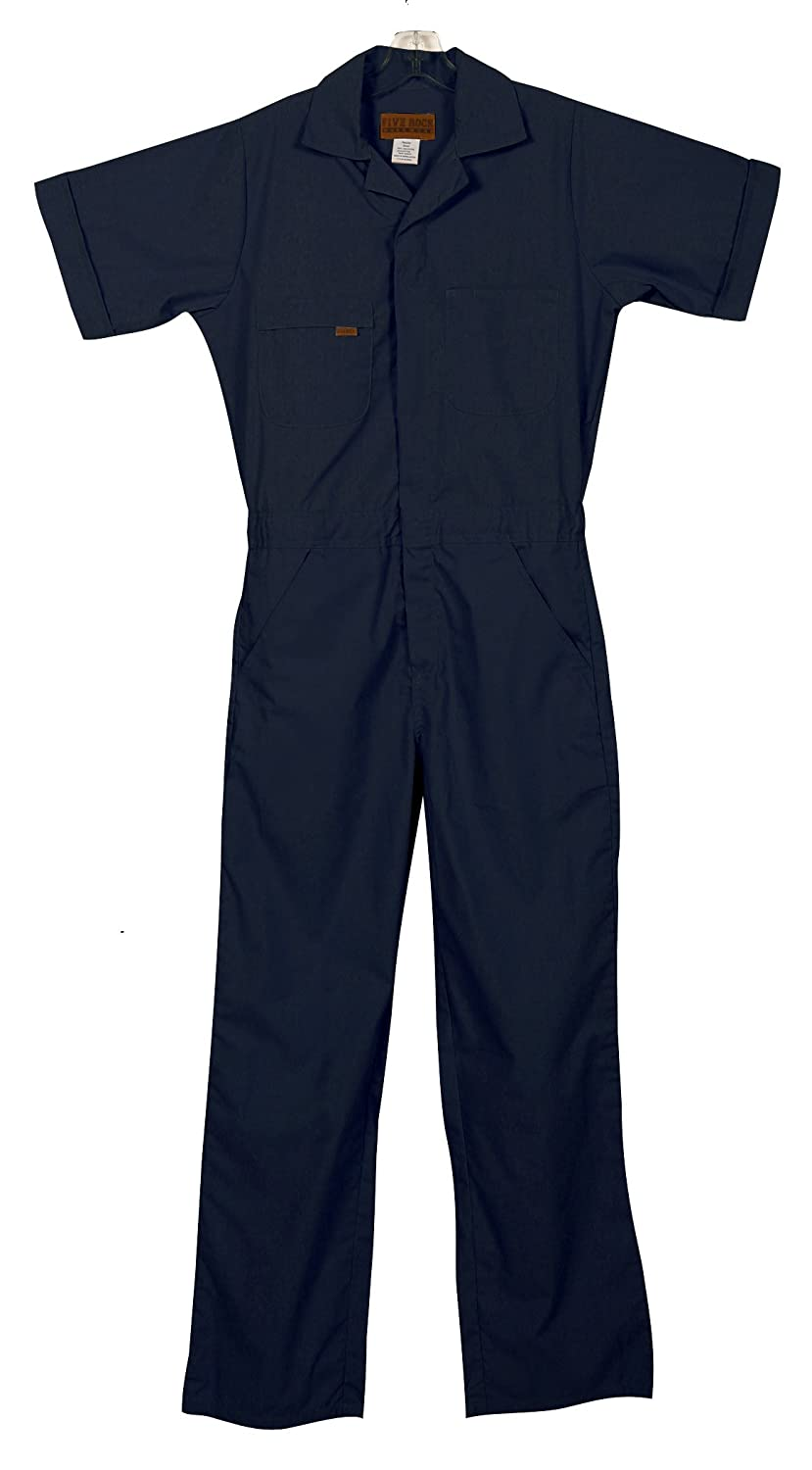Rosie the Riveter Costume & Outfit Ideas Five Rock Poplin Short Sleeve Unlined Coveralls Regular Fit $42.39 AT vintagedancer.com