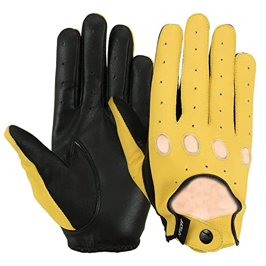 f32f3b4637026 MRX Ladies Driving Gloves Button Basic Soft Outdoor Glove Goat Leather  Workout Full Finger, Black