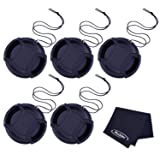 Mudder 40.5 mm Lens Cap Snap-On Center Pinch Lens Cover with Cord and Cleaning Cloth for Canon Nikon Sony Camera Lens, 5 Pack