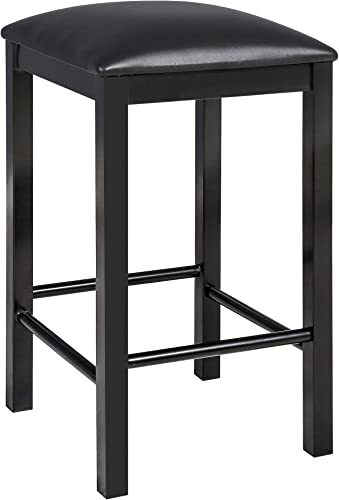 HOMOOI 24 Cushioned Bar Stool Counter Height, Strong Kitchen Counter Stool with Cushioned Top and Metal Base, Black