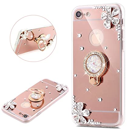 timeless design 723c6 279a7 iPhone 6S Plus/6 Plus Case,iPhone 6S Plus Rose Gold Mirror Case,PHEZEN  iPhone 6/6S Plus Luxury Bling Glitter Rhinestone Mirror Makeup Case Ring  Stand ...