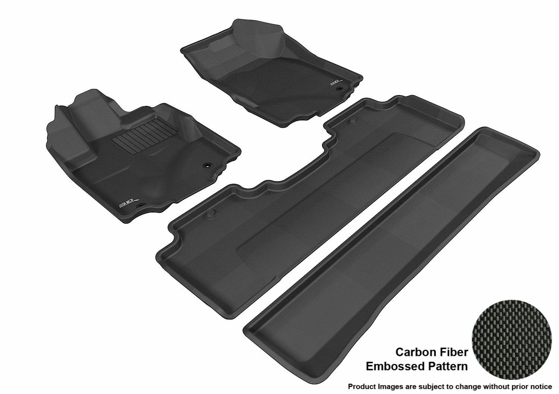 3D MAXpider L1HD03901509 Complete Set Custom Fit All-Weather Floor Mat for Select Honda Ridgeline Models - Kagu Rubber (Black)
