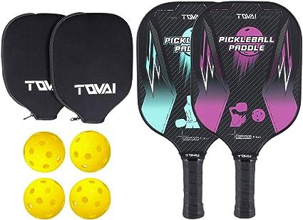 TQVAI Pickleball Paddle Set of 2-2 Premium Lightweight Graphite Rackets Honeycomb Composite Core with Cushion Comfort Grip & 4 Balls & 2 Neoprene ...