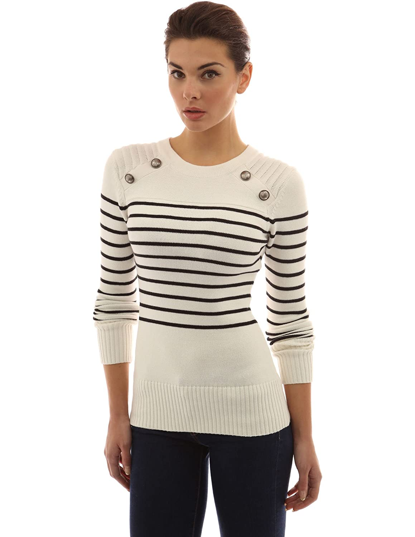 78aa87c7b3 PattyBoutik Women s Crewneck Striped Military Sweater at Amazon Women s  Clothing store