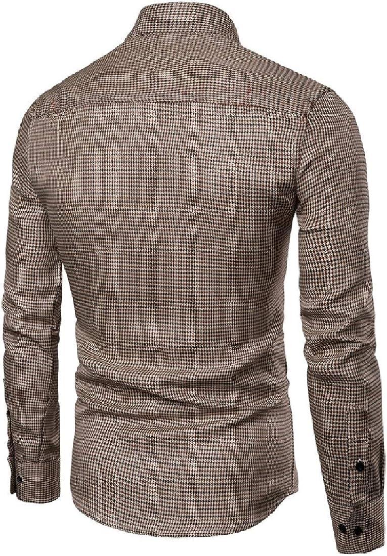 YUNY Men Jacket Tops Plaid Outerwear Business Fall//Winter Sport Shirt Coffee M
