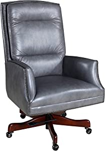Hooker Furniture Executive Leather Swivel Tilt Office Chair in Empyrean Ash