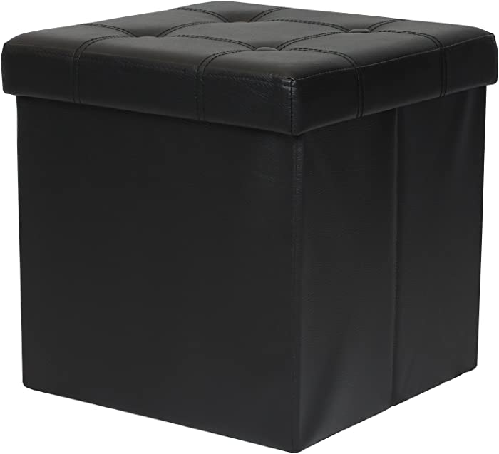 """Otto & Ben 15"""" Storage Ottoman - Folding Toy Box Chest with Memory Foam Seat, Tufted Faux Leather Small Ottomans Bench Foot Rest Stool, Black"""