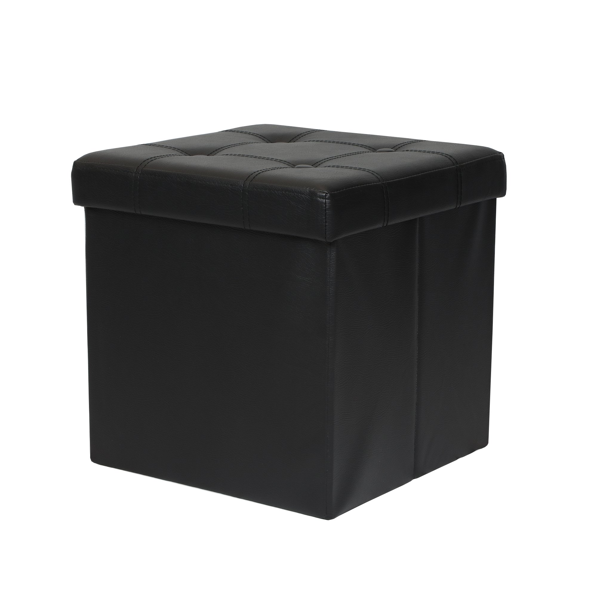 Otto & Ben 15'' Storage Ottoman - Folding Toy Box Chest with Memory Foam Seat, Tufted Faux Leather Small Ottomans Bench Foot Rest Stool, Black