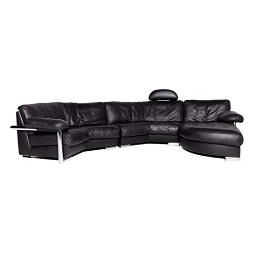 Artanova Medea Leather Corner Sofa Black Genuine Leather ...
