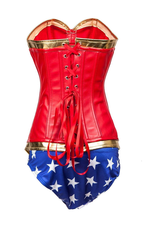 a0ef29e72c0 KuSen Basque Wonderwoman Superhero Fancy Lingerie Corset Costume Hen Party  Outfit  Amazon.co.uk  Clothing