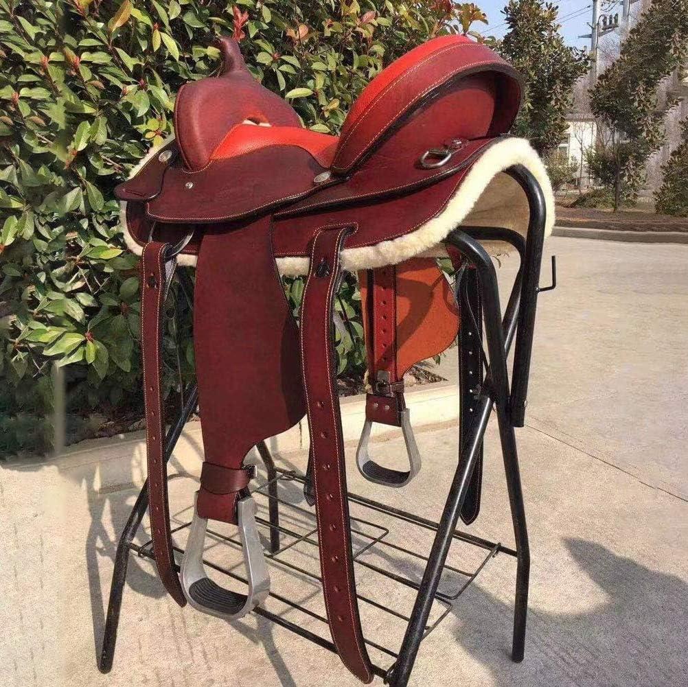 HIGHKAS Sillín de Caballo actualizado 2020, sillín de diseño ergonómico Juego Completo de Accesorios Importado Wild Ride Western Saddle Western Saddle Endurance Western Saddle, Rojo