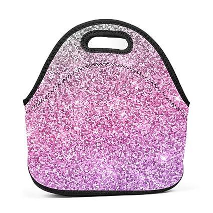Amazon com: Neoprene Lunch Bag - glitter-background-silver-pink