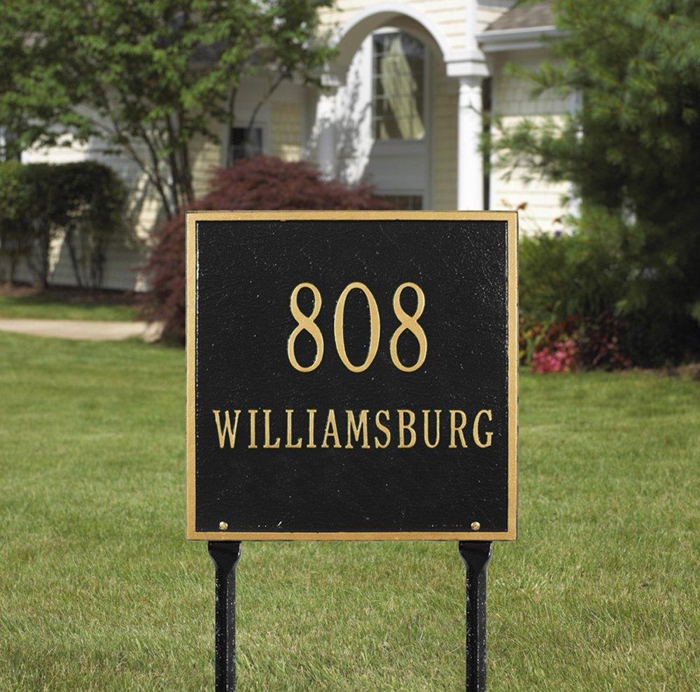 正方形標準Lawn 2つのラインブラック/ goldwhitehall-2114 B002CY35JA