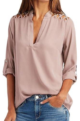 La Mujer Casual Cuello V Gasa Camisa Manga Corta Hueco Fuera Blusas Tops Tee
