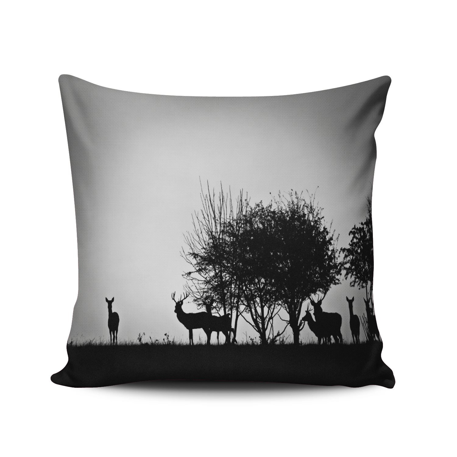 KEIBIKE Pillow Case Animal Deer Beside Tree in the Wild Personalized Pillowcases Fancy Decorative Black and White Throw Pillow Covers Cases Euro Square 26x26 Inches