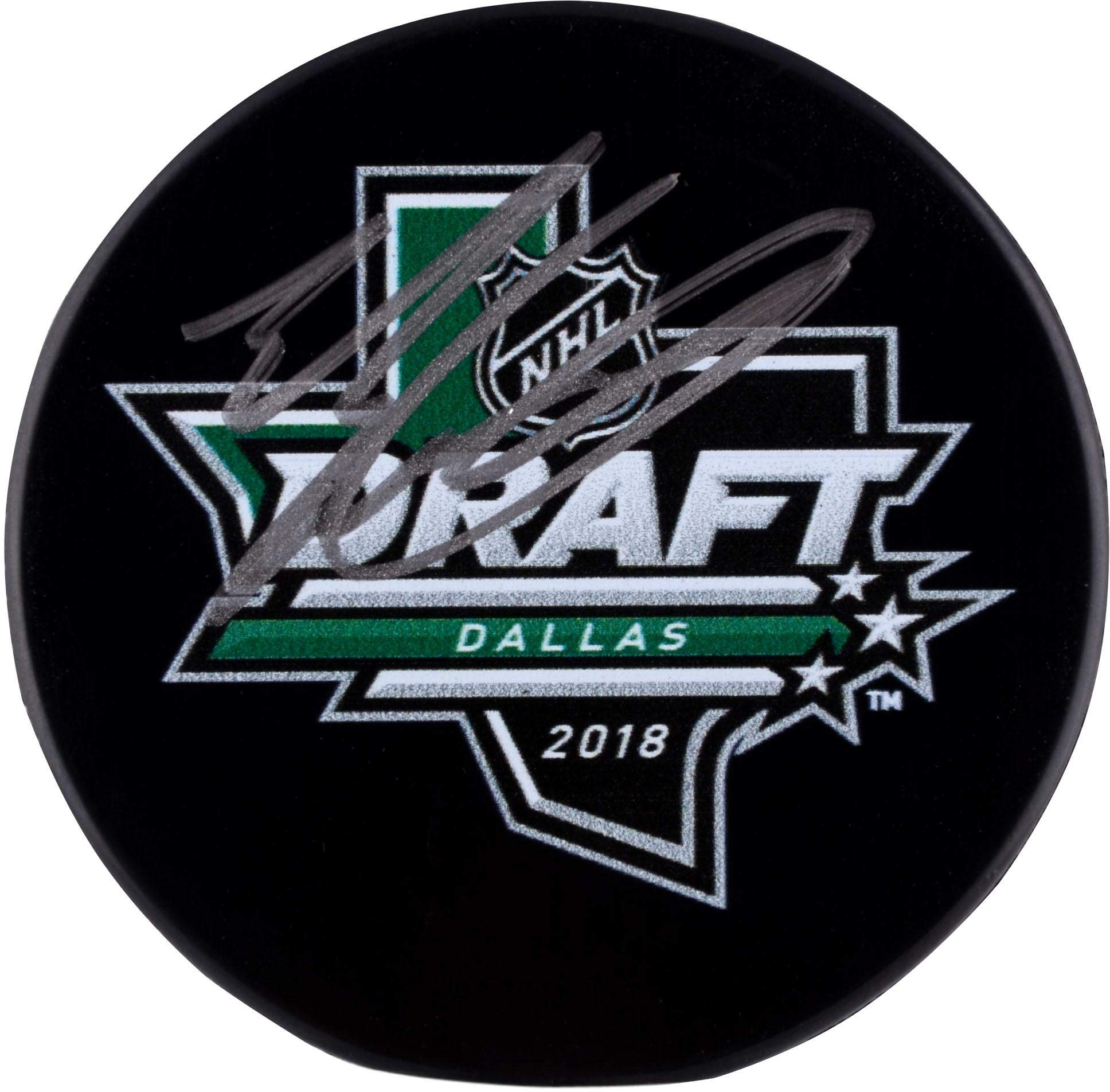 Evan Bouchard Edmonton Oilers Autographed 2018 NHL Draft Logo Hockey Puck Fanatics Authentic Certified