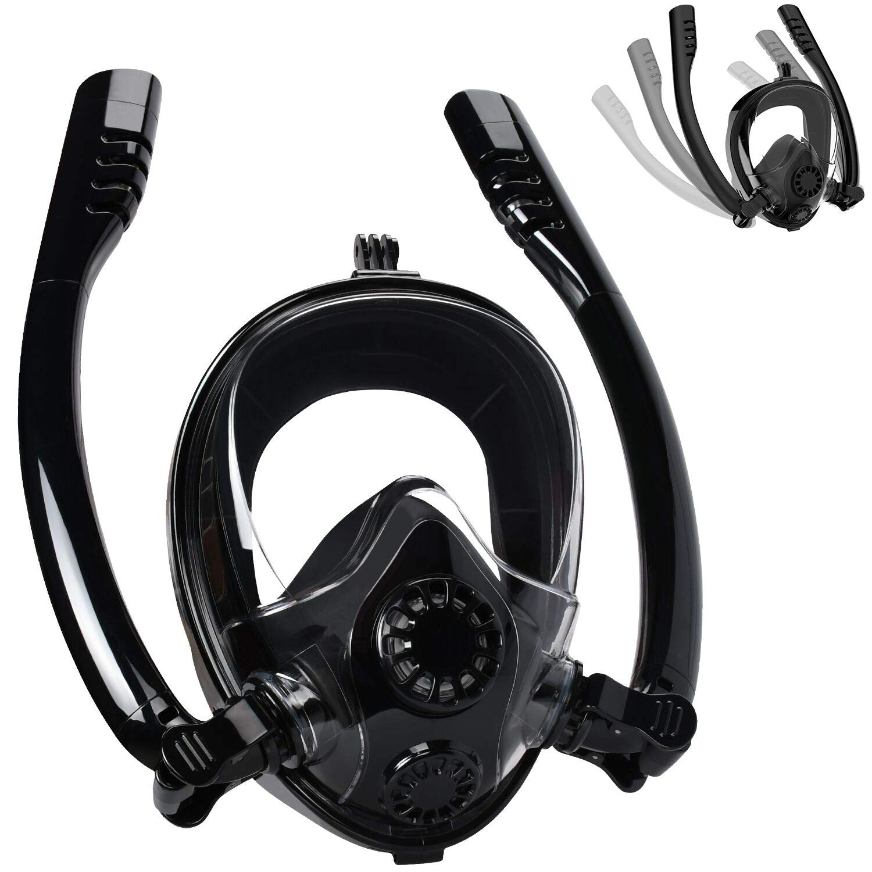 Cevapro Snorkel Mask Full Face, Safe K2 Breathing System Full Face Snorkeling Mask for Natural Breath & Safe Snorkeling Anti Leak Anti Fog Diving Mask Dry Snorkel Set for Kids Adult by Cevapro