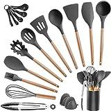 Kitchen Utensils Set Silicone Cooking Utensils - SZBOB 19pcs Heat Resistant Kitchen Tools Wooden Handle Spoons Kitchen…