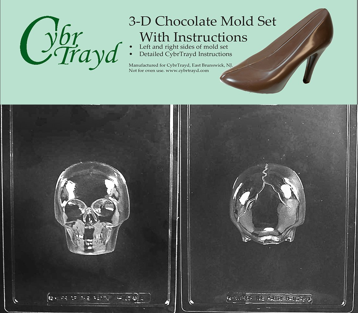 Cybrtrayd H167AB Medium 3D Skull Chocolate Candy Mold with 2 Molds and Exclusive Cybrtrayd Copyrighted 3D Chocolate Molding Instructions by CybrTrayd