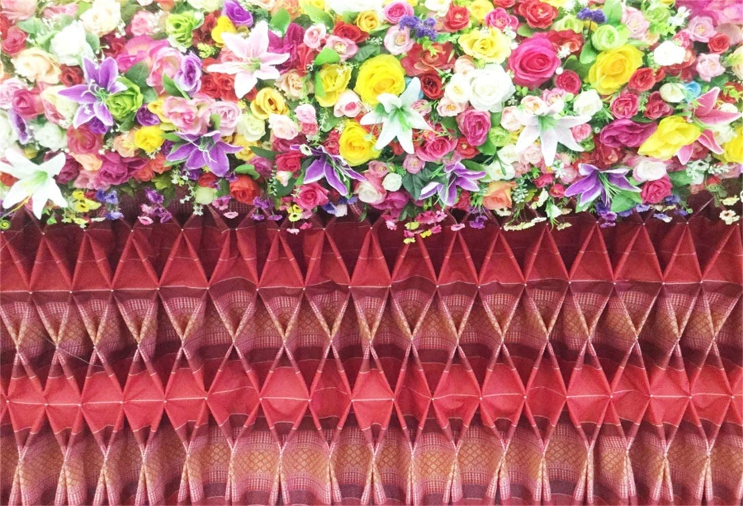 Vinyl 10x7ft Romantic Valentines Day Photography Background Colorful Flowers Edge Geometric Pattern Wall Backdrops Wedding Event Activities Banner Child Adult Lovers Couple Photo Shoot