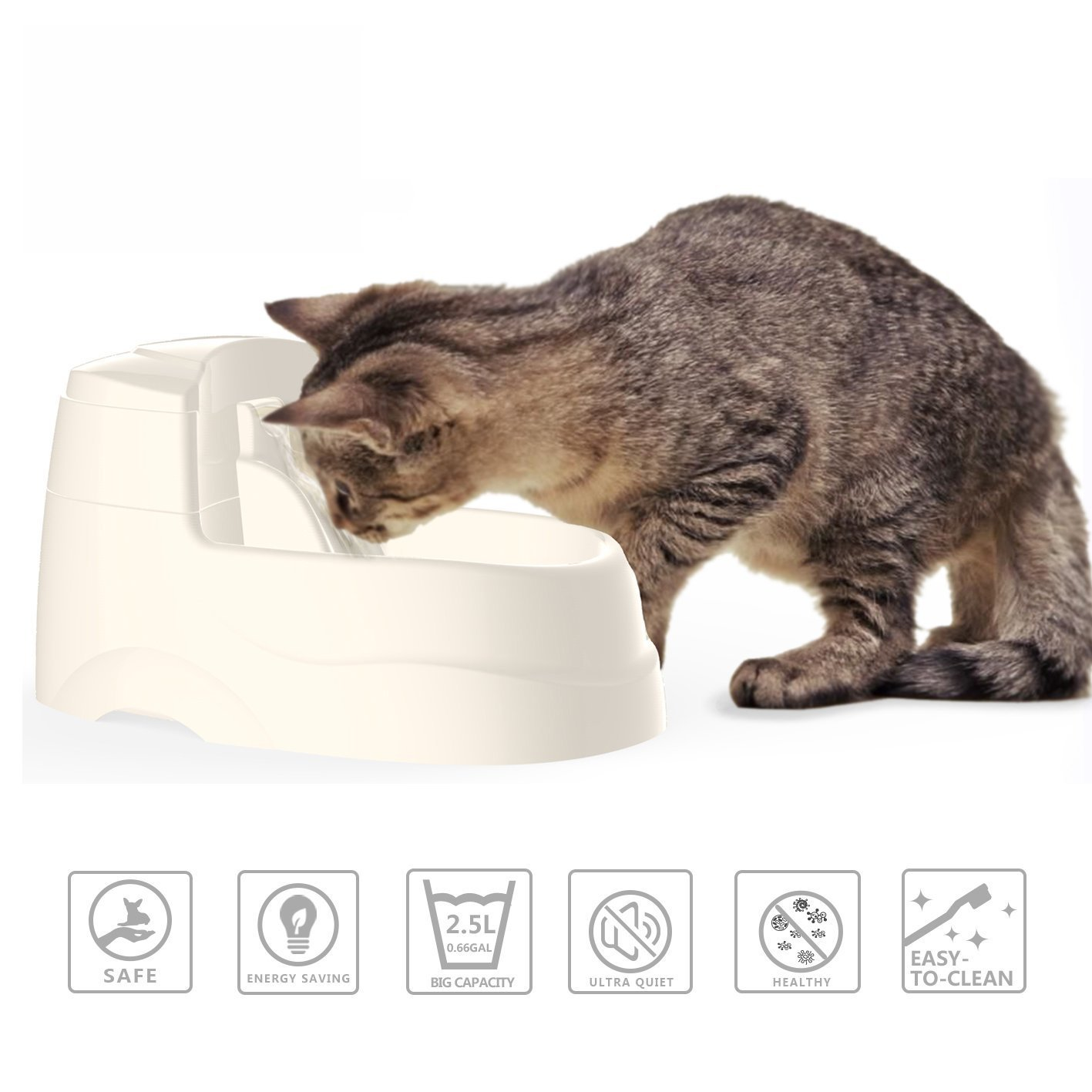 Dog and Cat Drinking Fountain, Pet Water Fountain with 5Pcs Water Filters and 2.5L (0.66 gal) Capacity