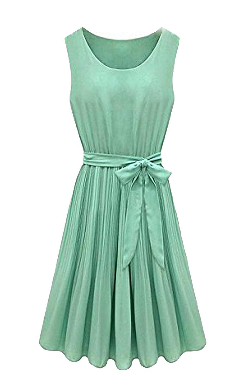 ACEVOG Casual Damen Mini Kleid O-Ausschnitt Ärmellose Chiffon ...