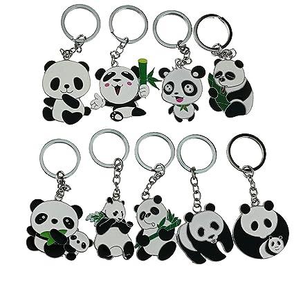 Cute dibujos animados Big Metal oso panda llavero Key Ring ...