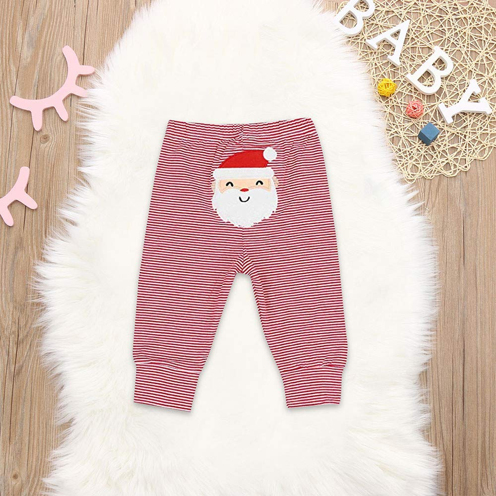 Toddler Baby Girls Boys 3-24 Months Print Jumpsuit Romper+Christmas Santa Pants+Hat Outfit