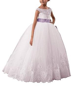 59e1f549deca6 Vougemarket®Robe de Baptême Enfant Fille Demoiselle d Honneur Robe Boule  Traîne Robe Fille