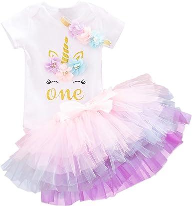 Nnjxd Conjunto De Traje De Unicornio Para El Primer Año De La Bebé Niña Consta De Falda Tutú Arcoíris Camiseta Con Estampado De Unicornio Y Banda De Flores Para La Cabeza