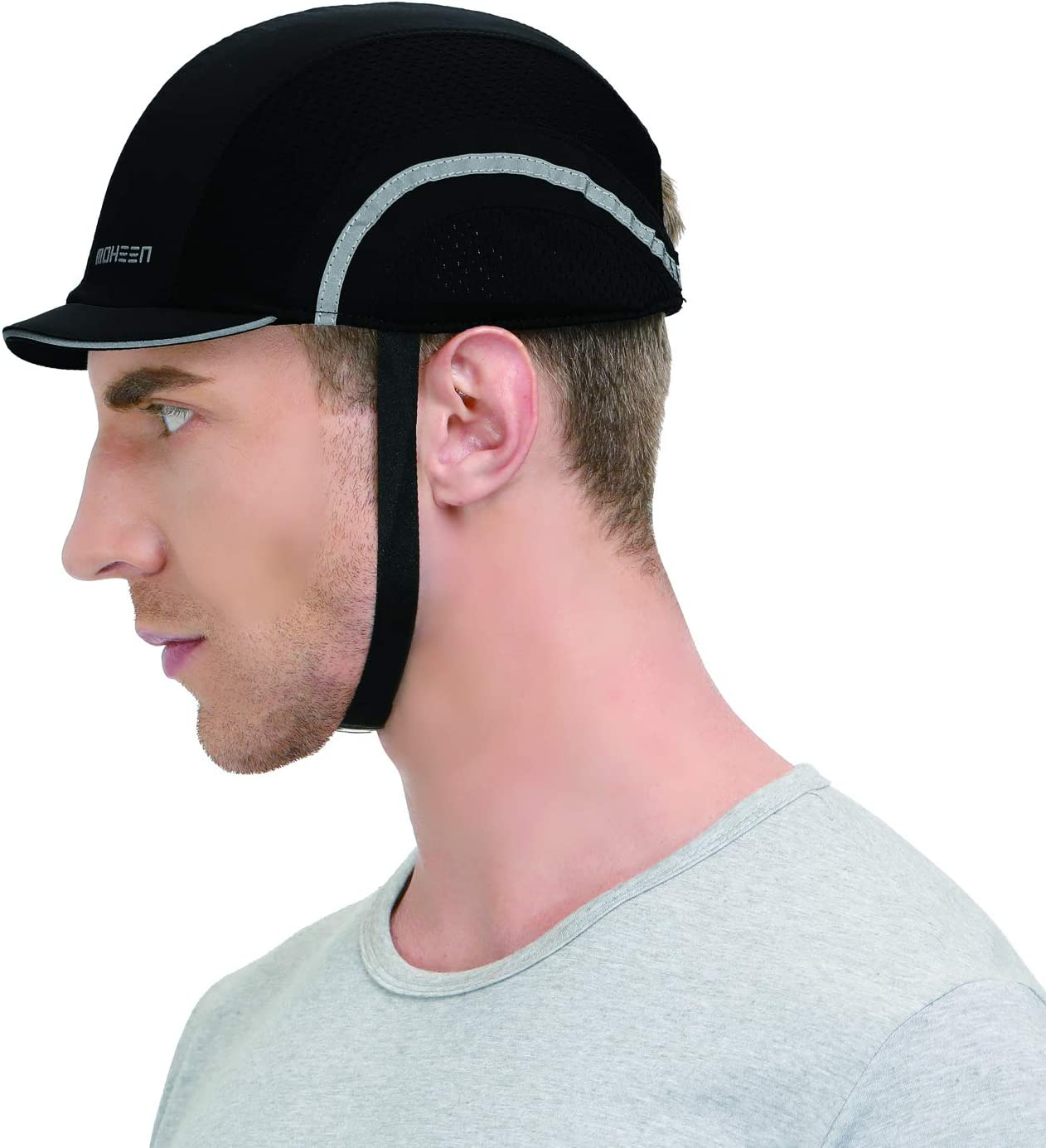 Black,Micro Brim Safety Bump Cap Lightweight and Breathable Hard Hat Head Protection Cap