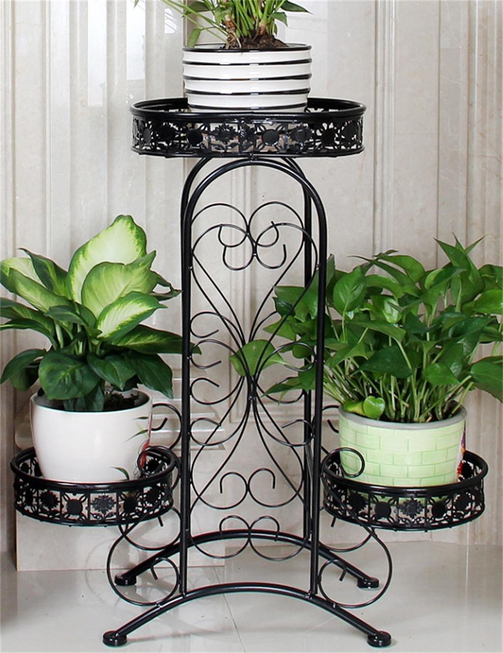 LB Europäische - Stil Blume Rack Eisen Mehrstöckige Balkon Blumentopf Regal Wohnzimmer Pastoral Blumen Töpfe Regal Montage Blumentopf Regal ( farbe : Schwarz )